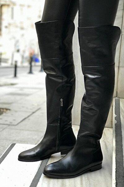 Siyah Hakiki Deri Çizme - Adalıa
