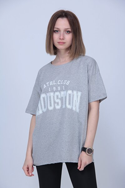 Kadın Gri Houston Logolu Oversize T-shirt