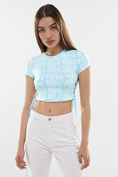 Yanları Bağcıklı Kısa Kollu T-shirt
