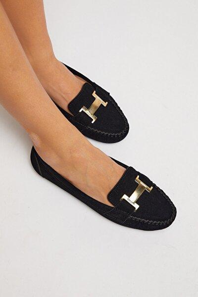 Kadın Siyah Süet Loafer Ayakkabı TB2698-1