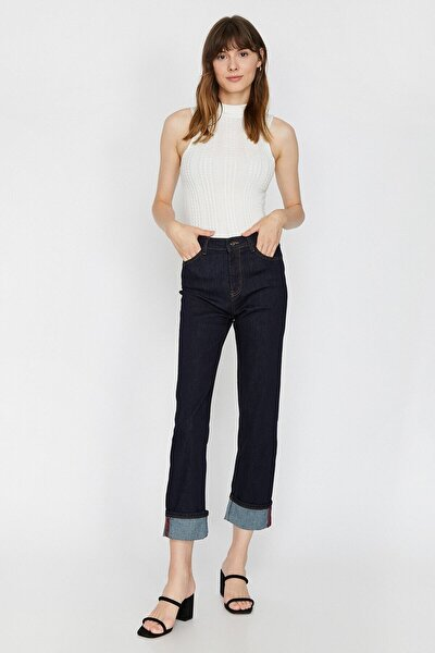 Kadın Mavi Normal Kesim Yüksek Bel Hafif Düz Paça Eve-Slim Jean Pantolon 0KAK47226MD