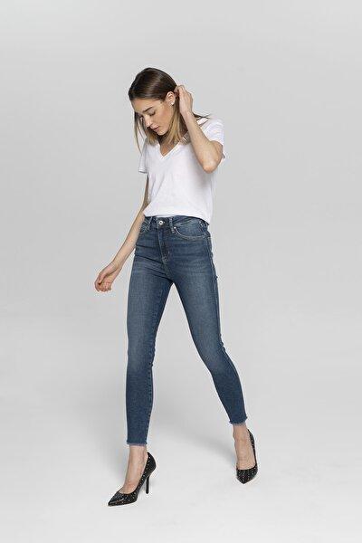 Judy Koyu Mavi Yüksek Bel Paçası Kesikli Yanı Dikişli Skinny Fit Jean Pantolon
