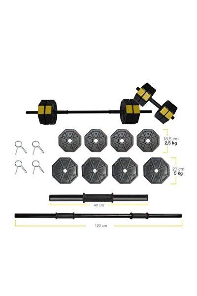 30 Kg (150 CM) Düz Bar Z Bar Dambıl-dumbell-ağırlık-halter–full Set Sarı Kapaklı