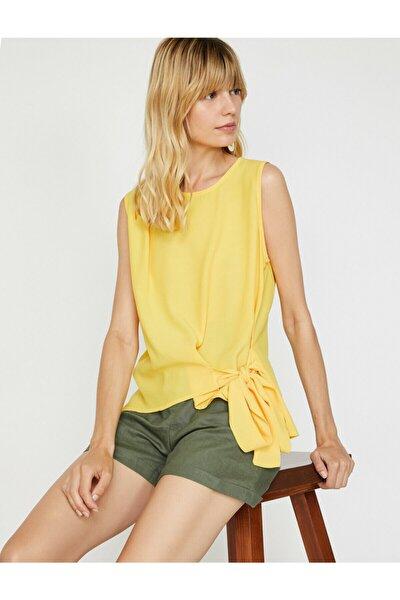 Kadın Sarı Oyuk Yaka Kolsuz Bluz 9YAK68928PW