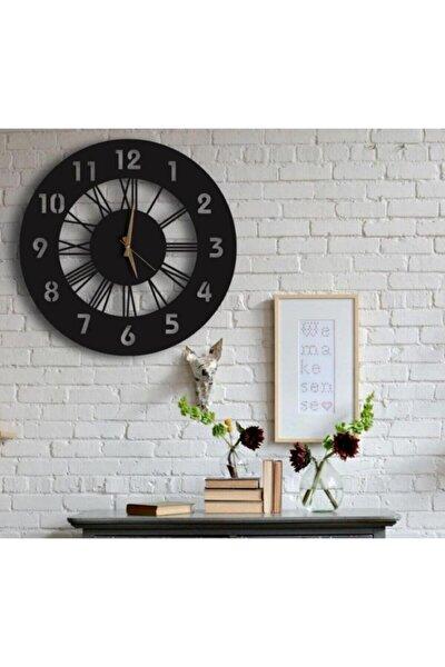 Siyah Hediyelik Ahşap Dekoratif Farklı Desenli Duvar Saati 50cm