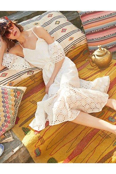 Kadın Beyaz Arzu Sabancı for Koton Elbise 9YAK82550UW