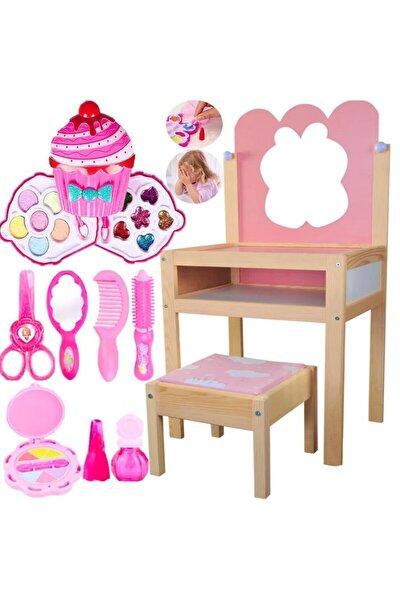 Aynalı Ahşap Güzellik Masası Aksesuarlı + Cupcake Sürülebilir Makyaj Seti Kız Çocuk Evcilik Oyuncak