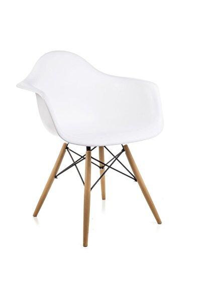 Kolçaklı Beyaz Eames Sandalye - Cafe Balkon Mutfak Sandalyesi
