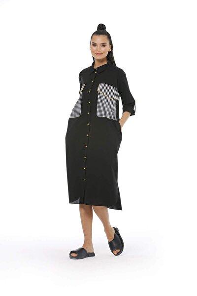 Kadın, Siyah, Gömlek Yaka, Gömlek Kalıp, Ekose/kareli, Midi Boy, Dokuma, Düğme Detaylı Elbise