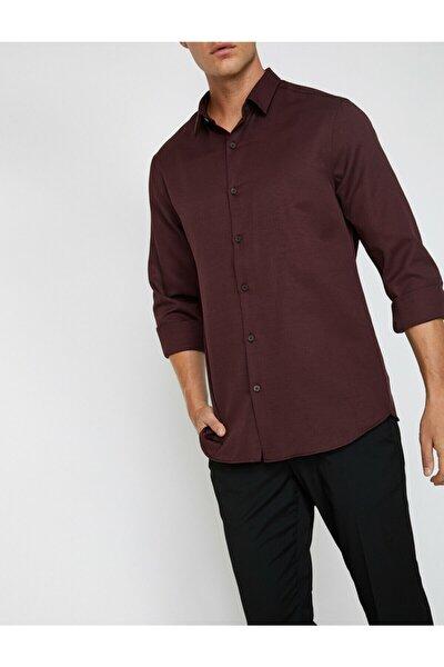 Erkek Bordo Klasik Yaka Uzun Kollu Gömlek 0KAM69148VW