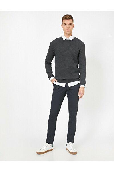 Erkek Gri Cep Detaylı Pantolon