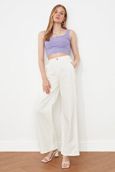Beyaz Yüksek Bel Wide Leg Jeans TWOSS21JE0491