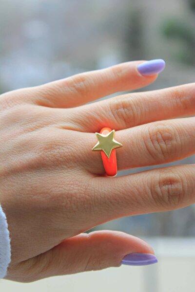 Kadın Turuncu Neon Yıldız Ayarlanabilir Yüzük