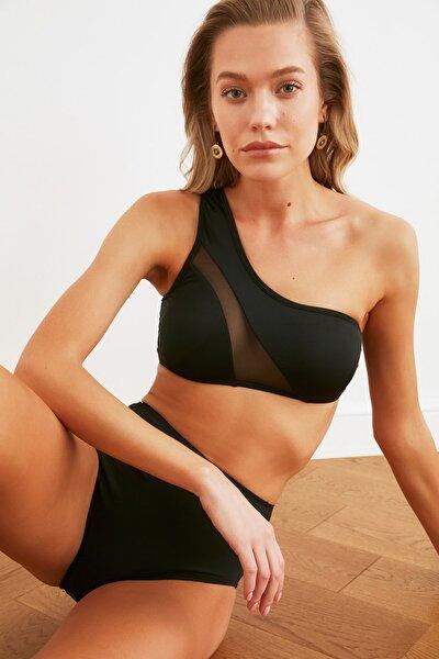 Siyah Mesh Detaylı Tek Omuz Bikini Üstü TBESS21BU0189