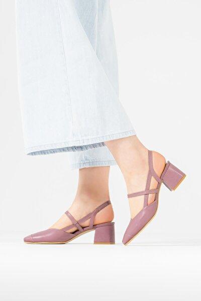Kadın Lila Hakiki Deri  Küt Burun Kare Topuklu Sandalet