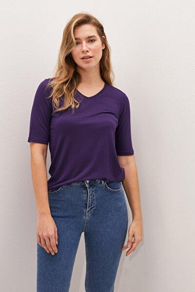 Kadın Koyu Mor Classic Tişört