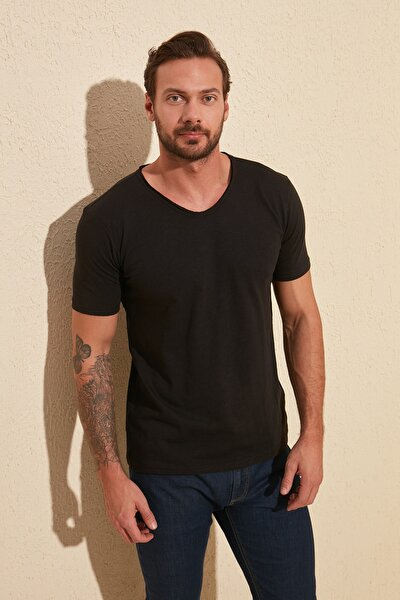 Siyah Basic Flamlı Süprem Regular Fit T-Shirt TMNSS20TS0035