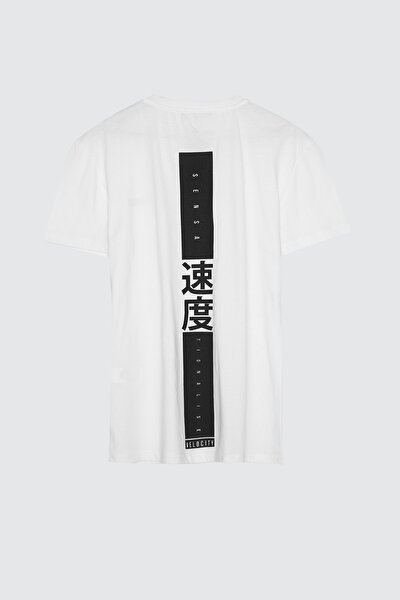 Beyaz Erkek Regular Fit Sırt Baskılı T-Shirt TMNSS20TS1484