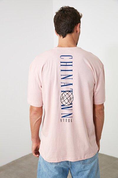 Pudra Erkek Geniş Kesim Fit Sırt Baskılı  T-Shirt TMNSS20TS0277