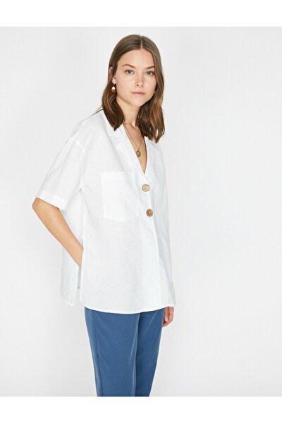 Kadın Beyaz Dügme Detayli Bluz 9YAK68688PW