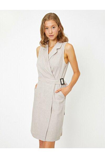 Kadın Ekru Klasik Yaka Kolsuz Midi Elbise 9YAK88700PW