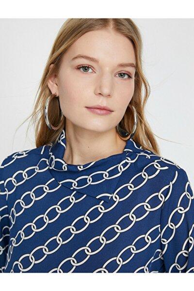 Kadın Lacivert Desenli Bluz 9YAK68151PW