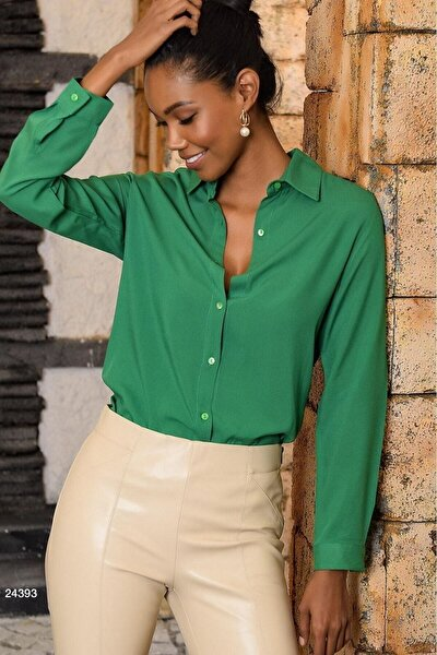 Kadın Yeşil Basic  Gömlek