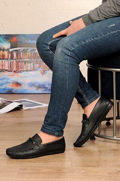 Erkek Siyah Örgü Detaylı Günlük Ayakkabı