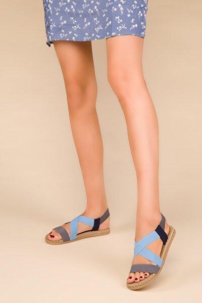 Kadın Günlük Lastikli Sandelet Mavi