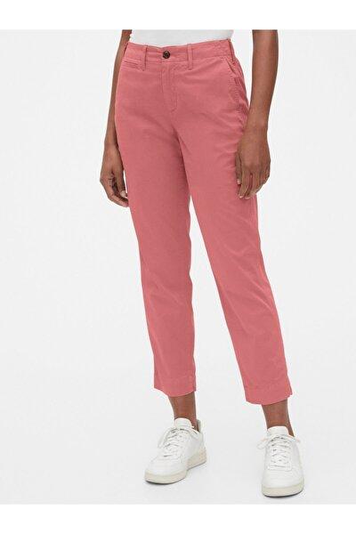 High Rise Straight Fit Khaki Pantolon
