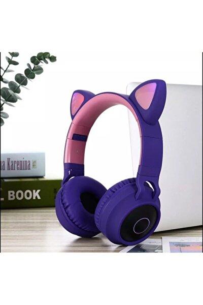 Kart Girişli Kedi Bluetooth Kulaklık Yüksek Ses Akıllı Led Kulaklık + 12 Saat Fazla Şarj Zw-028