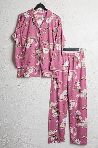Kadın Gül Kurusu Pamuklu Çiçekli Düğmeli Gömlek Pijama Takımı