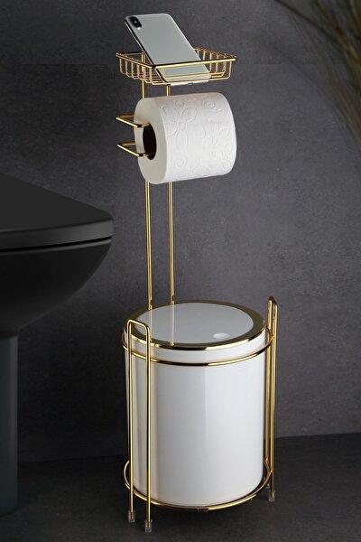 Gold Yedekli Wc Kağıtlık ve Beyaz Çöp Kovası