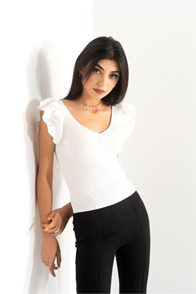 Kadın Giyim Omzu Fırfır Detaylı V Yaka Triko Bluz