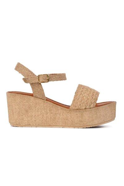 Kadın Bej Dolgu Topuklu Hasır Sandalet