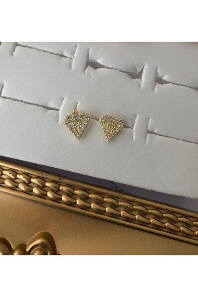 925 Ayar Gümüş Taşlı Çivili Tasarım Küpe
