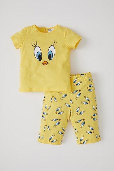 Kız Bebek Tweety Lisanslı Kısa Kol Pamuklu Pijama Takımı