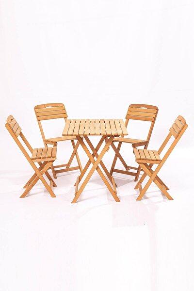 Balkon - Bahçe 5'li Katlanabilir Bistro Set 4 Sandalye 1 Bahçe 60x80 Cm Masa