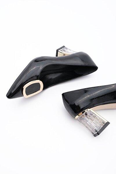 Kadın Klasik Topuklu Ayakkabı Kavizlasiyah Rugan