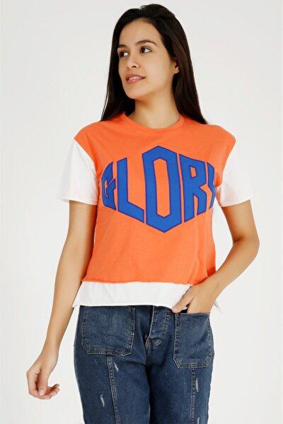 Kadın Turuncu Glory Nakışlı  Tshirt