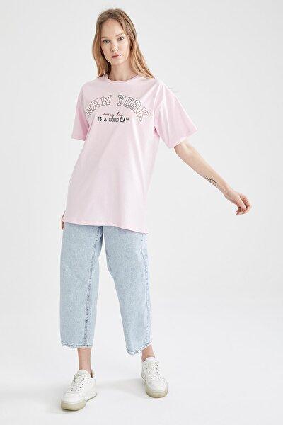 Kadın Pembe Baskılı Pamuklu Fit Tişört