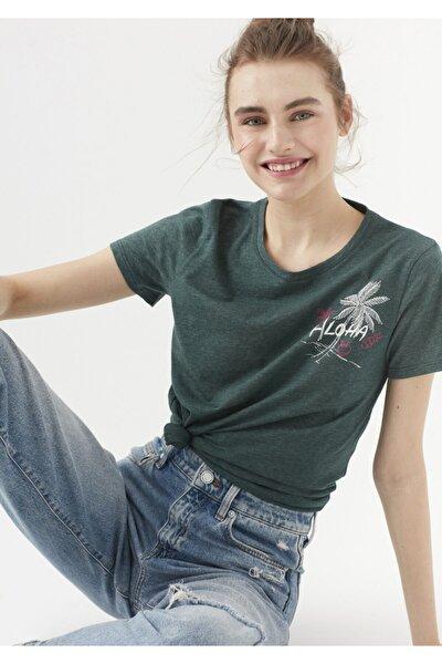 Kadın Yeşil  Aloha Baskılı T-Shirt