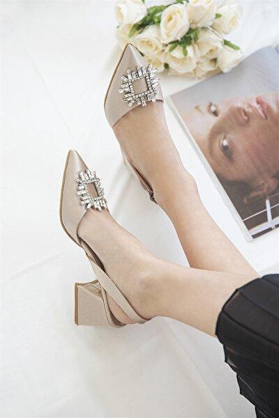 Kadın Ten Laina Taş Detay Saten Topuklu Ayakkabı