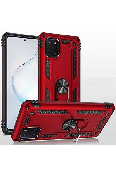 Note 10 Lite Uyumlu Yüzüklü (standlı) Nezih Case Zırh Kılıf Kırmızı