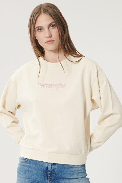 Kadın Huş Ağacı Rengi Regular Fit %100 Pamuk Sıfır Yaka Sweatshirt