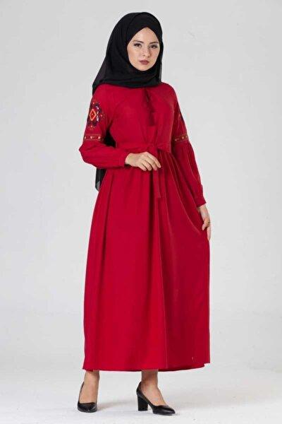 Kadın Bordo Nakışlı Pile Detayli Tesettür Elbise Brc1174