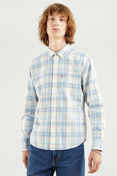 Erkek Çizgili Kareli Gömlek - 86619-0047