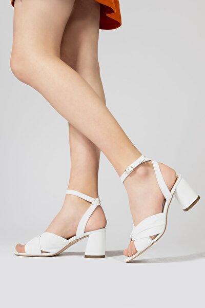 Kadın Sandalet Bilekten Bağlamalı Topuklu Sandalet Ayakkabı