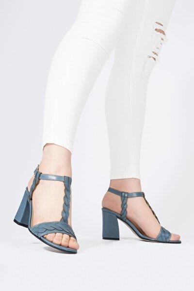 Hakiki Deri Kadın Sandalet Örgü Detaylı Tokalı Topuklu Ayakkabı