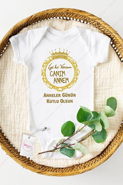 Bebek Beyaz Anneler Günü Gold Baskılı Yarım Kollu Bebek Body